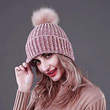 Женская акриловая зимняя вязаная шапка розовая с бубоном помпоном акрил крупная вязка