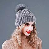 Женская акриловая зимняя вязаная шапка розовая с бубоном помпоном акрил крупная вязка, фото 10