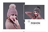 Женская акриловая зимняя вязаная шапка розовая с бубоном помпоном акрил крупная вязка, фото 6