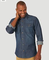 Джинсовая рубашка Wrangler - Stout Blue Denim