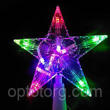 Светящаяся верхушка Звезда на елку размер 15*15 см