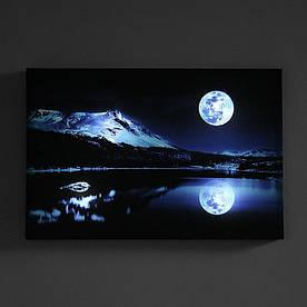 """Картина зі світлодіодним підсвічуванням, нічник, LED Картина """"повний Місяць"""""""
