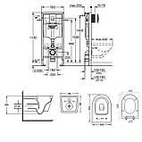 Набір інсталяція 4 в 1 Grohe Rapid SL 38721001 + унітаз з сидінням Qtap Swan QT16335178W, фото 2