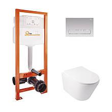 Набір Qtap інсталяція Nest QTNESTM425M08CRM + унітаз з сидінням Swan QT16335178W