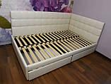 Угловая кровать Лион в мягкой обивке, фото 4