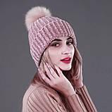 Женская акриловая зимняя вязаная шапка розовая с бубоном помпоном акрил крупная вязка, фото 3