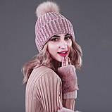 Женская акриловая зимняя вязаная шапка розовая с бубоном помпоном акрил крупная вязка, фото 2