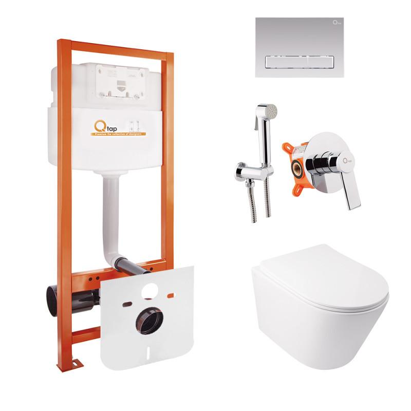 Комплект Qtap інсталяція Nest QTNESTM425M08CRM + унітаз з сидінням Swan QT16335178W + набір для