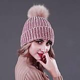 Женская акриловая зимняя вязаная шапка розовая с бубоном помпоном акрил крупная вязка, фото 4