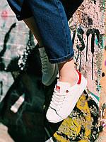 Кроссовки белые Adidas Stan Smith Red с красным задником унисекс, фото 1