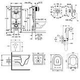 Комплект інсталяція Grohe Rapid SL 38722001 + унітаз з сидінням Qtap Swan QT16335178W + набір для, фото 2