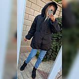Женская зимняя куртка свободного кроя Качественная плащевка на синтепоне Размер 42 44 46 48 50 52 54 56, фото 6