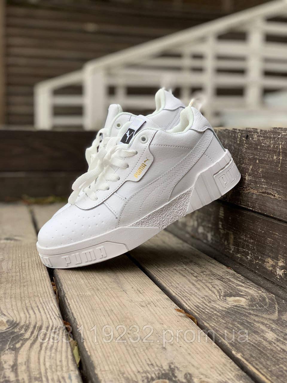Женские зимние кроссовки Puma Cali White (мех) (белые)