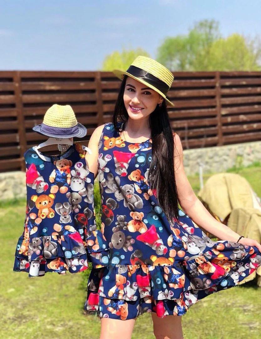 Family look одинаковые летние платья мама + дочка