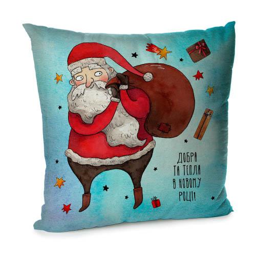 Подушка диванная с бархата Добра та тепла в Новому році 45x45 см (45BP_21NG012)