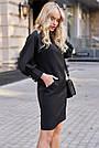 Чёрное короткое платье прямое с поясом стильное молодёжное, фото 3