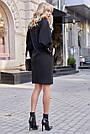 Чёрное короткое платье прямое с поясом стильное молодёжное, фото 4