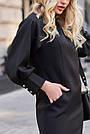 Чёрное короткое платье прямое с поясом стильное молодёжное, фото 5