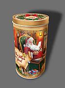 Новогодняя упаковка тубус из жести Санта, до 600г, от 1 штуки