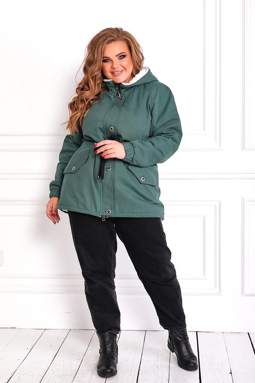 Женская зимняя куртка парка Джинс коттон на меху Размер 48 50 52 54 56 58 60 62 64 66 Разные цвета