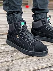 Мужские зимние кроссовки Puma (мех) (черные)