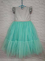 Детское нарядное платье для девочки Блеск-фатин 5-6 лет, бирюзового цвета, фото 1