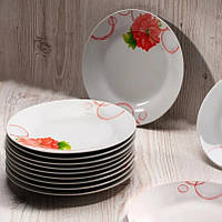 """Тарелка обеденная круглая с цветами 20,5 см """"Пион"""" (4366)"""