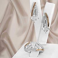 """Срібний набір прикрас з золотими вставками і фіанітами """"331"""", фото 1"""