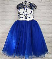 Детское нарядное платье для девочки Сакура 6-7 лет, синего цвета, фото 1