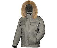 Куртка зимняя мужская пуховик на натуральном пуху с капюшоном с натуральным мехом City Classic
