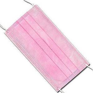 Маски одноразовые с фиксатором для носа, трехслойный спанбонд, розовая