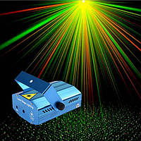 Лазерный проектор стробоскоп цветомузыка с микрофоном лазер шоу (прыгающие точки)