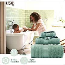 Набор Полотенец Hotel & Spa - Комплект Банных Полотенец 3 шт: 70*140 см, 35*75 см, 35*35 см Темно Зеленый, фото 2