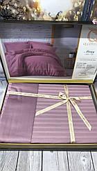 Постельное Белье Сатин Люкс Двуспальное Евро 200*220 см Q-Cotton Турция Фиолетовое