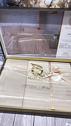 Постельное Белье Сатин Люкс Двуспальное Евро 200*220 см Q-Cotton Турция Бежевое