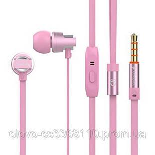 Наушники Celebrat C8 (микрофон, плоский шнур) Pink