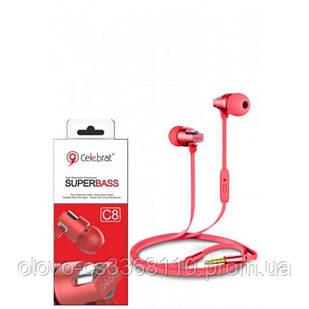 Наушники Celebrat C8 (микрофон, плоский шнур) Red