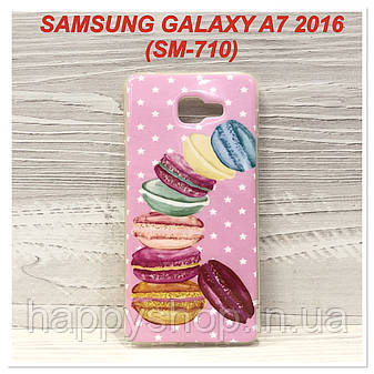 Силиконовый чехол с рисунком для Samsung Galaxy A7 2016 (SM-A710) Macarons, фото 2