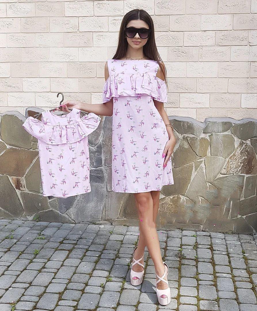 Комплект платьев с воланом мама + дочка
