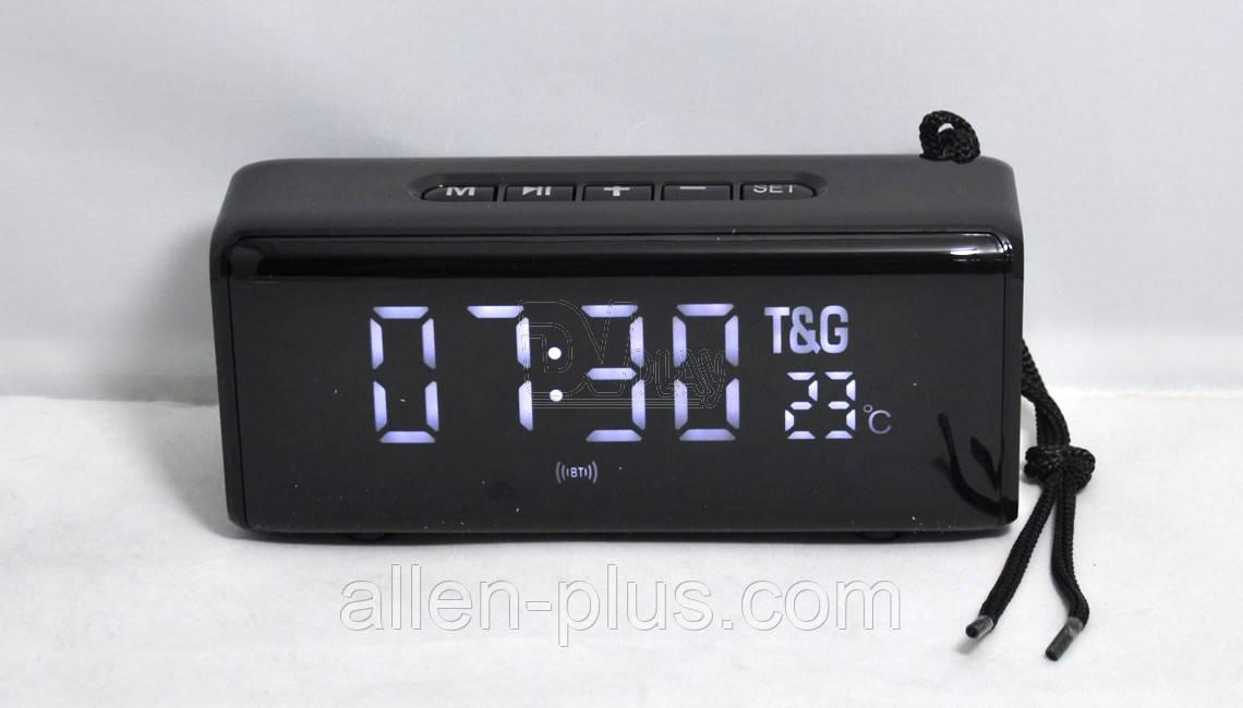 Акустическая колонка T&G TG-174 c часами/будильником/термометром, black