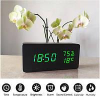 Электронные Настольные Часы VST-862 S черные, зеленая подсветка