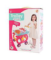 Детский набор тележка с кухонной посудой аксессуарами и игрушками для девочек