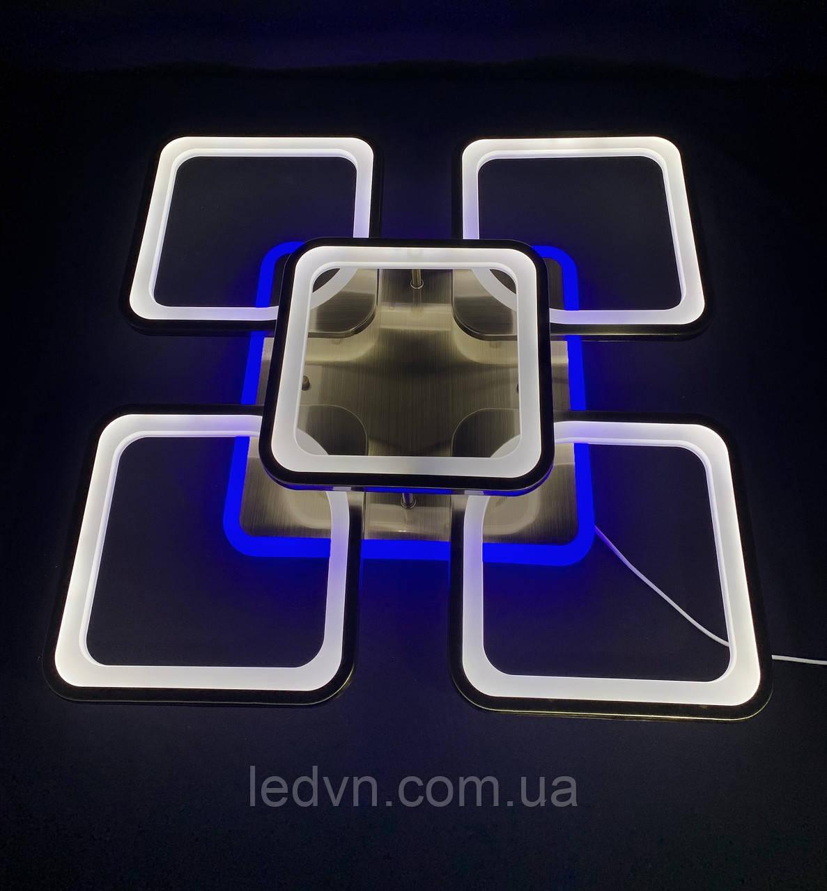 Светодиодная люстра бронза квадраты 4+1 с синей подсветкой 80 вт