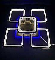 Светодиодная люстра бронза квадраты 4+1 с синей подсветкой 80 вт, фото 1