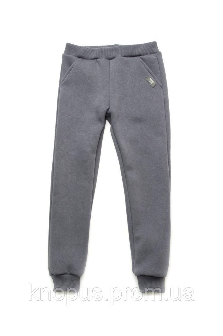 Спортивные штаны с начесом для девочки, серые, Модный карапуз, размеры 104-134
