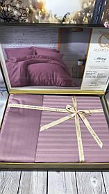 Постельное Белье Сатин Люкс Двуспальное Евро 200*220 см Q-CottonТурция Фиолетовое