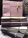 Постельное Белье Сатин Люкс Двуспальное Евро 200*220 см Q-CottonТурция Бежевое, фото 2