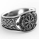 Кольцо серебряное Рунический Компас и Вороны Одина Хугин и Мунин КЦ-144 Б, фото 3