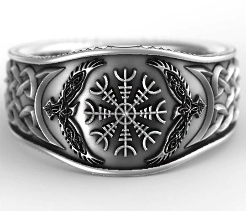 Кольцо серебряное Рунический Компас и Вороны Одина Хугин и Мунин КЦ-144 Б