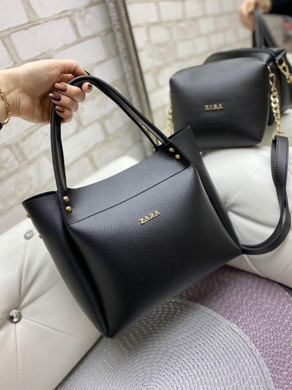 Большая черная женская сумка на плечо с косметичкой брендовая модная кожзам